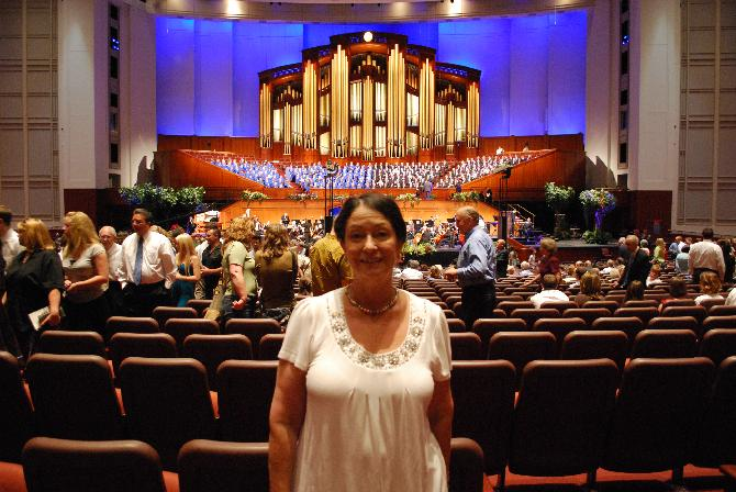 Stephanie Dopp at the LDS Conference Center with the Choir